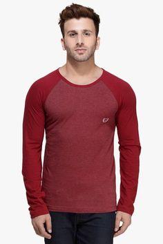 #RIGO #Maroon #Melange #Raglan Full Sleeve Round Neck #Tee