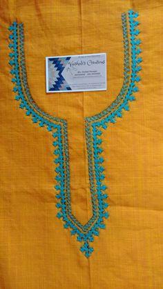 Embroidery Suits Punjabi, Embroidery On Kurtis, Kurti Embroidery Design, Embroidery Neck Designs, Hand Work Embroidery, Hand Embroidery Stitches, Kutch Work Saree, Salwar Kameez Neck Designs, Collar Kurti