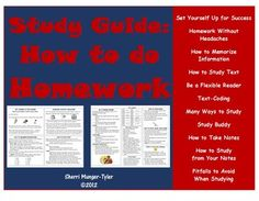 A take-home resource for students and parents, each section of this Homework Study Guide is densely packed with numerous strategies to help students become better learners, be more organized, move concepts from short-term memory to long-term memory, and truly learn HOW to study and complete homework effectively! Includes tips on using mnemonics, acrostics, memory tricks, nutritious snacks, and much more! Learning Objectives, Teaching Tips, and Common Core Standards included. Grades 6-12…