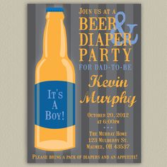 Beer and Diaper Party for Dad - Printable Invitation with Color Options. $15.00, via Etsy.