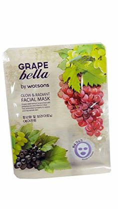4 Mask Sheets of Grape Bella by Watsons Glow  Radiant Facial Mask enriched with polyphenols and vitamin E that has antioxidant property to restore and rejuvenate skin 20 g sheet * Check out this great product.