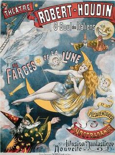 Robert-Houdin Theatre Magician Wizard and Moon Modern Pos... - bidStart (item 32005123 in Postcards... Theatre)