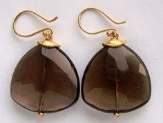 JUMBO Faceted Smoky Quartz Earrings in Gold by pinkowljewelry, $47.00