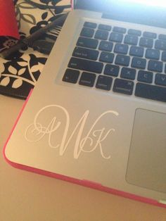 Custom monogram created on the Silhouette! So cute on a laptop or laptop case!