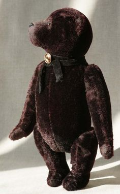 Black #teddy bear by Hypatia. Old, #vintage, #retro, English.