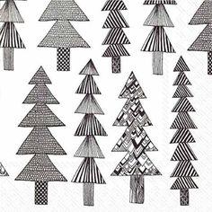 Marimekko Finnish Designer KUUSIKOSSA white black fir pine trees christmas luxury traditional paper table napkins 20 in pack