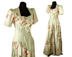 1940s cotton floral dress maxi dress long dress by vintagerunway, $119.00
