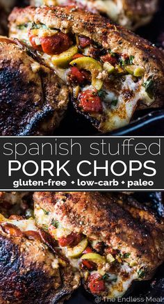 Spanish Pork Chops SAVE FOR LATER! Spanish Stuffed Pork Chops are filled to the brim with roasted red peppers, sun dried tomatoes, chorizo, and juicy Gordal olives from Spain. They're an easy to make (and healthy!) dinner recipe that everyone will love! Easy Healthy Dinners, Healthy Dinner Recipes, Cooking Recipes, Paleo Recipes, Chorizo, Whole30, Spanish Pork Chops, Easy Pork Chop Recipes, Olive Recipes