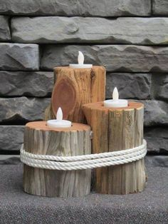 Diy Crafts Projects Wood Candle Holders 50 Ideas For 2019 Wooden Decor, Wooden Crafts, Wooden Diy, Diy Wood, Driftwood Candle Holders, Rustic Candle Holders, Rustic Candles, Rustic Wood, Diy Craft Projects
