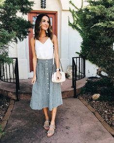 Striped skirt with pockets + the most feminine little top