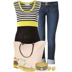 A fashion look from May 2013 featuring Oui tops, Hudson Jeans jeans and Sperry Top-Sider sandals. Browse and shop related looks.