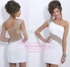 Online Shop 2014 caliente venta de verano Sexy de un hombro cristalino blanco corto Mini Homecoming Vestidos fiesta de graduación con cuentas vestidos de coctel|Aliexpress Mobile