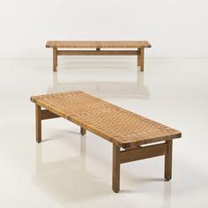 Børge Mogensen; Oak and Cane Bench for Fredericia, c1950.