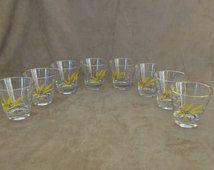 Vintage Autumn Gold Wheat Cocktail Glasses, Century Service Homer Laughlin, Set of 8 Glasses
