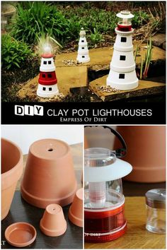 DIY  clay pot lighthouses ~ perfect for even the smallest of garden spaces.  http://www.hometalk.com/l/qYl