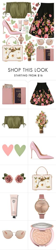 """Pink and Green"" by aprinasari ❤ liked on Polyvore featuring Royce Leather, Dolce&Gabbana, Bobbi Brown Cosmetics, Olivia Burton, Christian Dior and John Lewis"