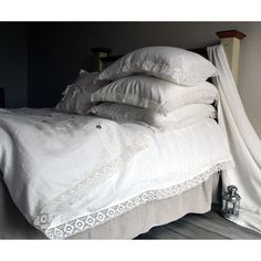 Antique White Pure Linen duvet/quilt/doona Cover Provincial Living... ($210) ❤ liked on Polyvore featuring home, bed & bath, bedding, duvet covers, grey, home & living, queen pillow cases, euro pillow cases, king pillowcases and linen duvet