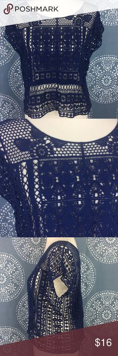 "LC Lauren Conrad Navy Open Knit Crochet Top Crochet and open knit navy boxy top. It has different designs and cap sleeves. Great condition. 19"" armpit to armpit and 20"" long. LC Lauren Conrad Tops"