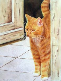 Cat Watercolor Painting of a red cat standing in the door