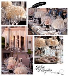 A black and taupe wedding at the Pelican Hill Resort in a custom structure featuring feather and crystal chandeliers