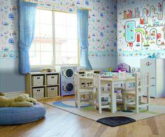 Kindertapete Rasch Textil Coconet 319025 Autos blau
