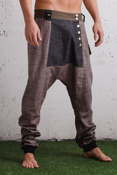 Drop crotch harem pants with slim leg / drop crotch pants unique cut & details…