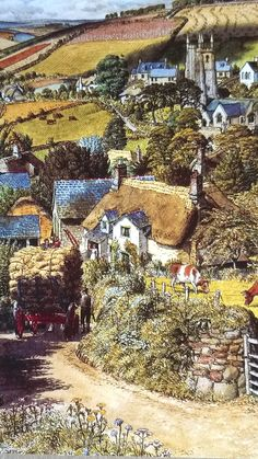 South Milton, Devon – Stanley R Badmin – The Royal Collection Watercolor Landscape, Landscape Art, Landscape Paintings, Watercolour, Landscapes, Fields In Arts, Little England, Victorian Paintings, Cottage Art