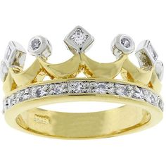Kate Bissett Two-tone Crown Fashion Cubic Zirconia Ring ($18) ❤ liked on Polyvore featuring jewelry, rings, accessories, yellow, cz pave ring, pave band ring, cz rings, two tone band rings and pave ring