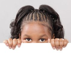 Child with copy space. Little girl peeking from behind copy space , African American Braided Hairstyles, African American Braids, Kids Braided Hairstyles, Funky Hairstyles, Black Women Hairstyles, Hairstyles Haircuts, African Hairstyles, Short Haircuts, Natural Hair Twist Out