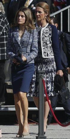 Letizia, princess of Spain, in a skirt suit.