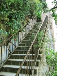 Hollywoodland - The base of one set of granite stairs in Beachwood Canyon.