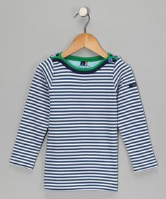 Take a look at this Blue Stripe Breton Organic Tee - Toddler & Boys by Little Shrimp on #zulily today!