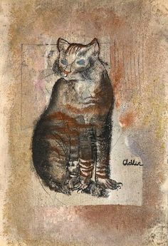The cat lovers Picasso, Léger, Klee and Dix influenced the work of Jankel Adler who includes cats in many of his compositions...