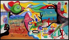 """60"""" HUGE Colorful SURREAL STYLE ABSTRACT Modern ART PAINTING Welcome Home #Abstract"""