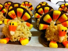 Rice crispie treat balls, and fudge striped cookies, all glued together by melting chocolate.  I made these yummy turkeys for mom's group gathering