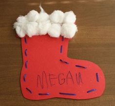 Tori Klingsmith. I would do this activity close to Christmas. It's a threaded boot so they will stitch the boot by themselves with little help. Also, they will glue cotton balls on the top of the boot for the fur of the boot. I think the kids would enjoy this activity!
