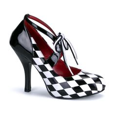Funtasma Harley Quinn black and white checker four inch heels. Adjustable strap for the perfect fit. Funtasma footwear runs small. We suggest that you purchase a size up if in between sizes, Ex: 8.5 s