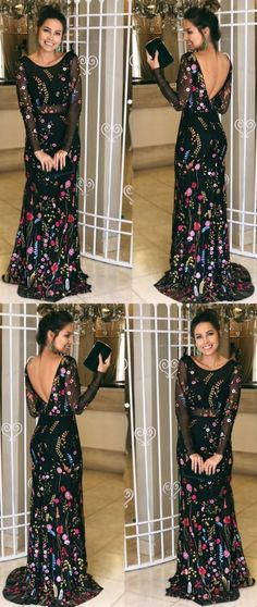 : unique black long sleeves long prom dresses, modest v back mermaid party dresses, simple sheer tulle evening gowns with appliques Pageant Dresses For Teens, 2 Piece Homecoming Dresses, Elegant Bridesmaid Dresses, Prom Dresses Long With Sleeves, Prom Dress Stores, Tulle Prom Dress, Dressy Dresses, Party Dresses, Bridesmaid Gowns
