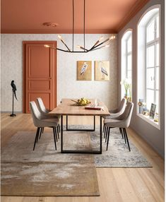 Kare Design, Estilo Color Block, Plafond Design, Black Table, Lofts, Ceiling Design, Upholstered Chairs, Side Chairs, Colorful Interiors