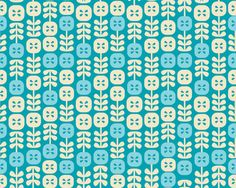 Sparky & Marie- Piccadilly Aqua/Cream on Blue Floral Cotton Fabric 1 Yard Sale