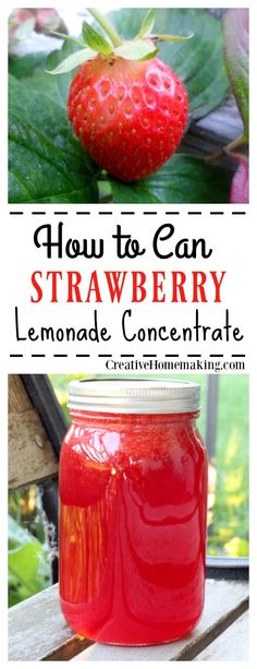 How to make and can fresh strawberry lemonade concentrate now to enjoy all fall and winter. How to make fresh strawberry lemonade concentrate now to enjoy all fall and winter. Pressure Canning Recipes, Home Canning Recipes, Cooking Recipes, Fermentation Recipes, Cooking Hacks, Fresco, Canned Strawberries, Canning Food Preservation, Preserving Food