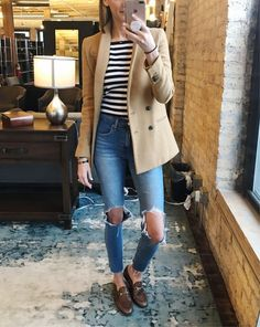 If you're in a pinch for what to wear this morning may I suggest camel, stripes and loafers? Works every time. http://liketk.it/2urcm #liketkit @liketoknow.it #LTKshoecrush #LTKstyletip