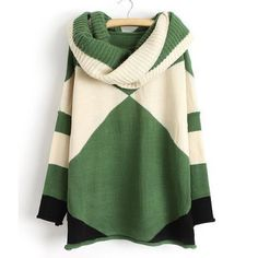 Sweater for sale/inspiration: Women's trendy color block, long-sleeved, scoop collar acrylic sweater with scarf  [green-cream]; one size (fits US sizes 0-10); from RoseGal.com ($26.42 as of Sep. 2014). This looks like a cowl collar, but it's a rolled-hem scoop neck plus a wide infinity scarf.
