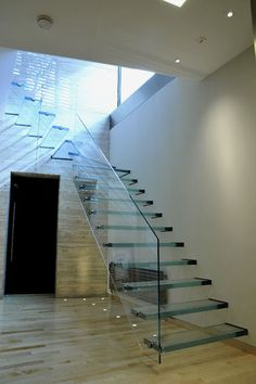 Glass staircase - modern - staircase - london - by Elite Metalcraft Co. Glass Stairs Design, Home Stairs Design, Interior Stairs, Home Interior, House Design, Patio Railing, Staircase Railings, Staircases, Staircase Ideas