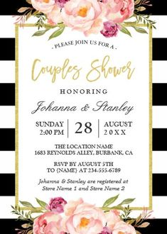 """Floral Gold BW Stripes Wedding Couples Shower Invitation. Size: 5"""" x 7"""" Make custom invitations and announcements for every special occasion! Choose from twelve unique paper types, two printing options and six shape options to design a card that's perfect for you. Size: 5"""" x 7"""" (portrait) or 7"""" x 5"""" (landscape) Standard white envelope included Add photos and text to both sides of this flat card at no extra charge Use the """"Customize it!"""" CLICK IMAGE FOR MORE DETAILS. Couples Wedding Shower Invitations, Graduation Invitations, Modern Wedding Invitations, Wedding Couples, Custom Invitations, Striped Wedding, Geometric Wedding, Couple Shower, Botanical Wedding"""