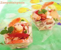Insalata di pesche, gamberi e feta http://zampetteinpasta.blogspot.it/2012/07/insalata-di-pesche-gamberi-e-feta.html