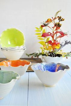 Ceramic Flower Bowls in bright autumn colors from Lee Wolfe Pottery