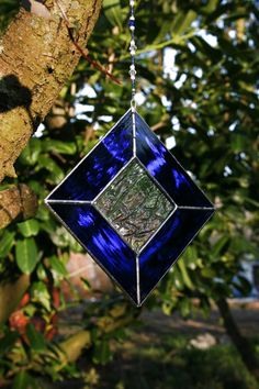 Stained Glass Diamond Blue Suncatcher with by StainedGlassFayre, €16.50