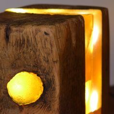 Resin Woodblock Lamp - Light sculpture made from old block of wood, with LEDs cast in resin.