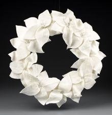 White Felt Poinsettia Wreath